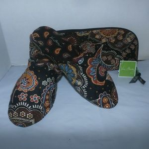 Vera Bradley Floral Slippers With Case NEW